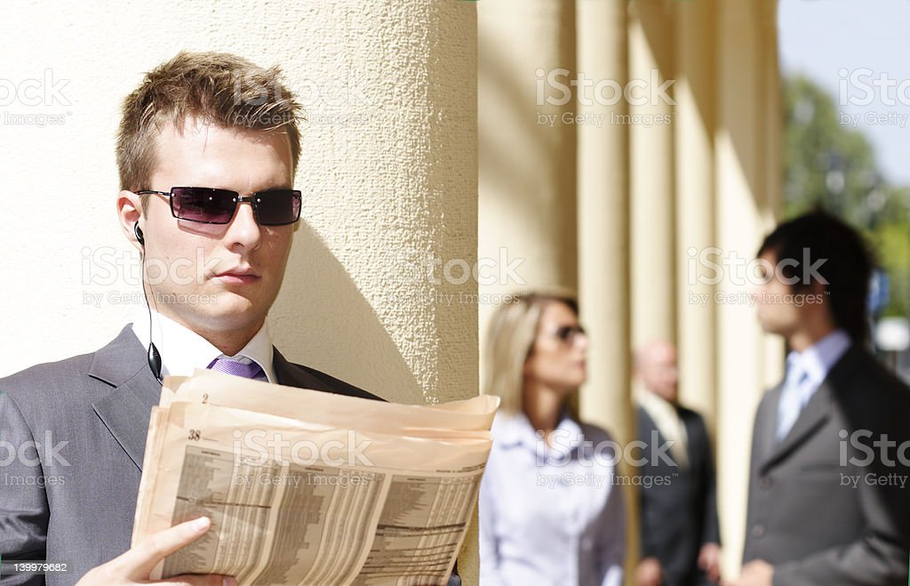 businessman checking financial paper royalty-free stock photo