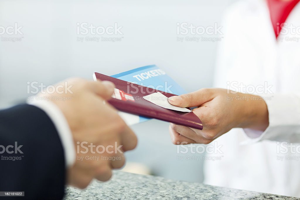 Businessman Checking in at the Airport stock photo