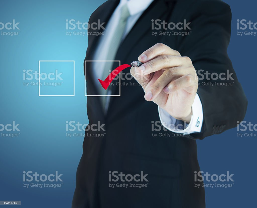 businessman checking mark checklist marker Isolated stock photo