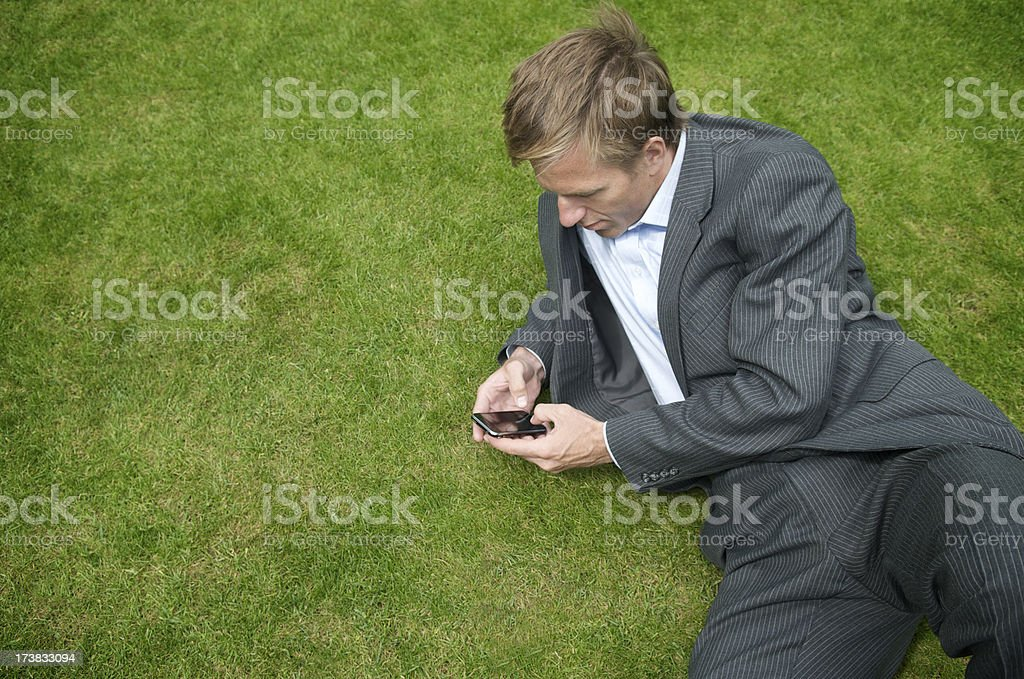 Businessman Checks Smartphone on Green Grass royalty-free stock photo