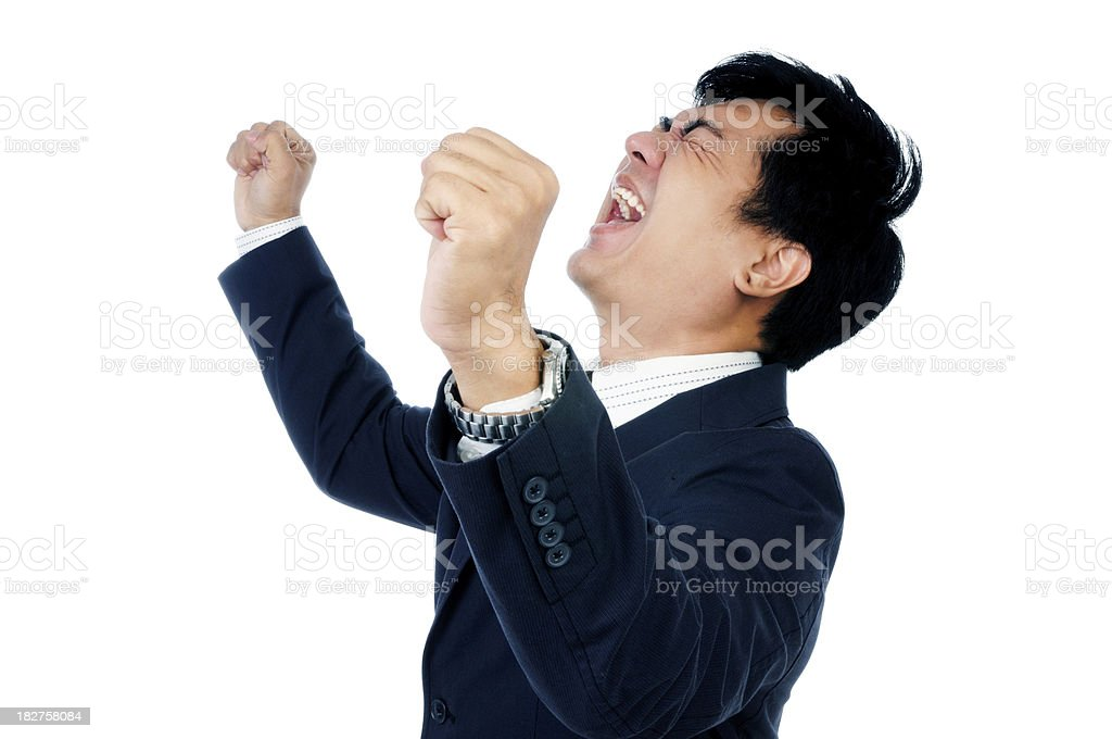 Businessman Cheering stock photo