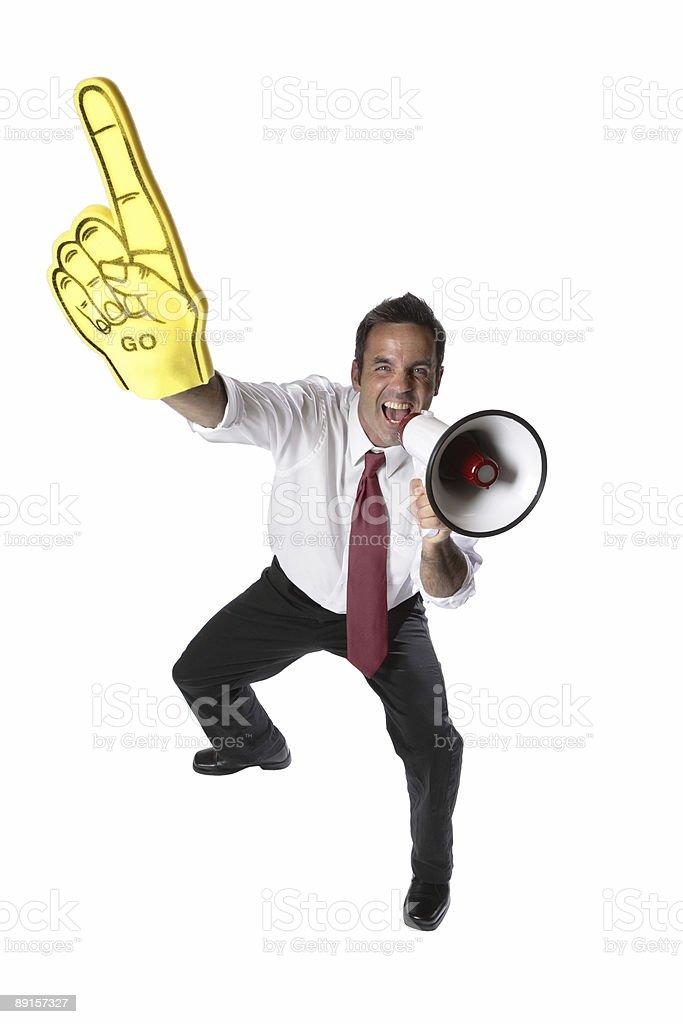 Businessman cheering stock photo