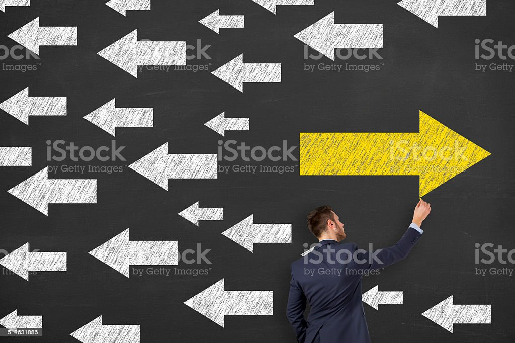 Businessman Choice on Chalkboard stock photo