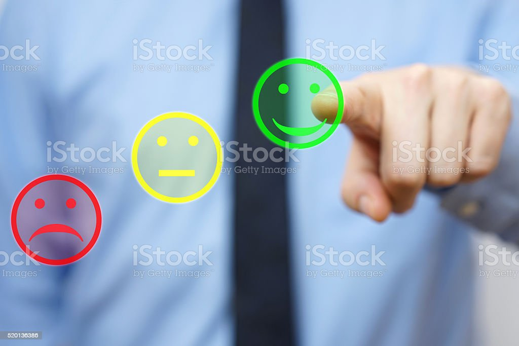 businessman choose  positive icon, concept of  satisfied customer stock photo