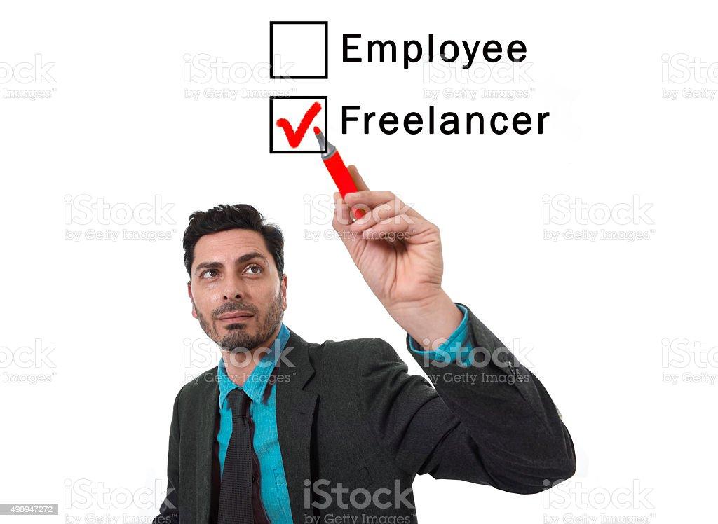 businessman choosing freelancer to employee option ticking box with marker stock photo
