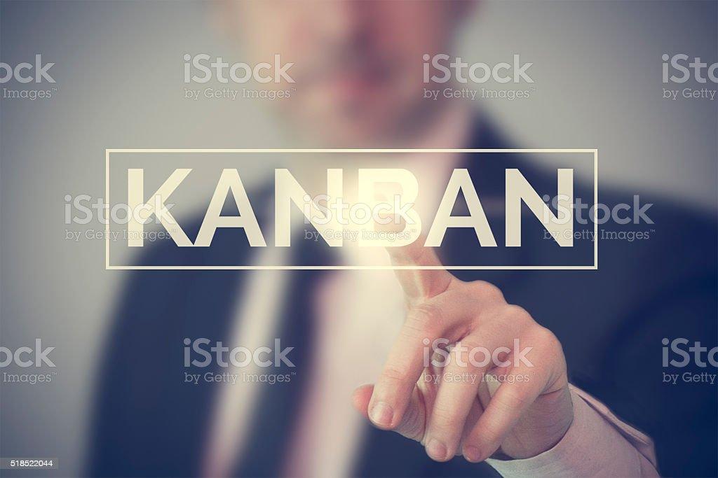 Businessman choosing Kanban stock photo