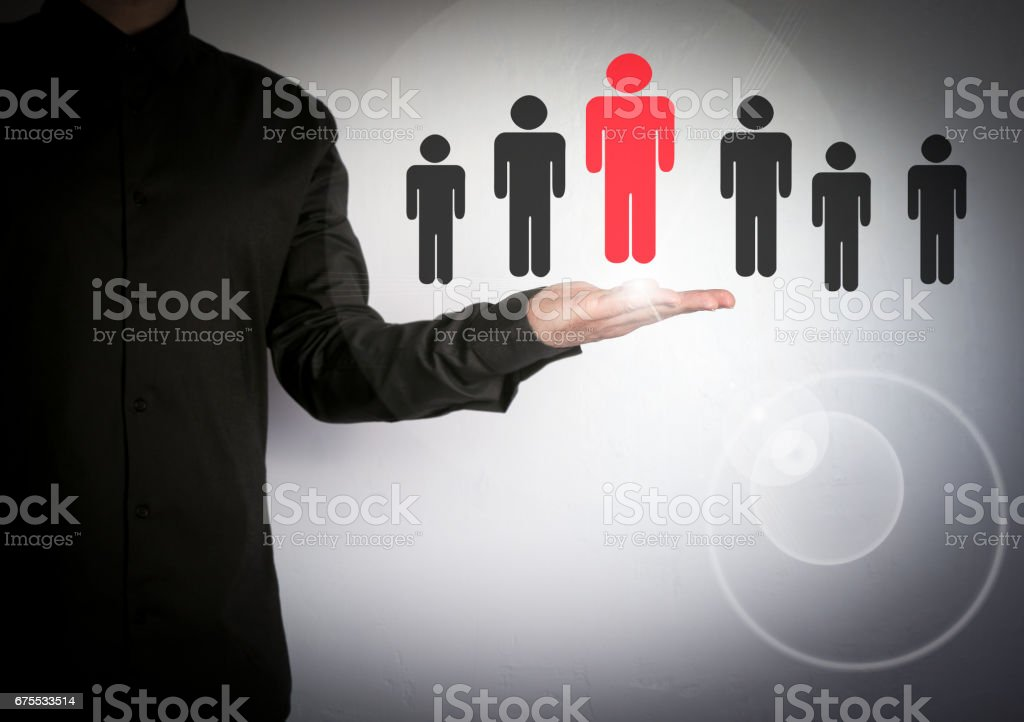 Businessman choosing right partner from many candidates. Cloud and...