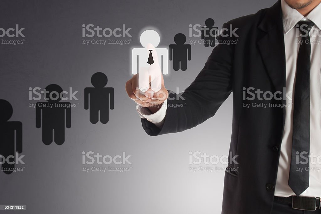 businessman choosing right partner from many candidates, Concept stock photo