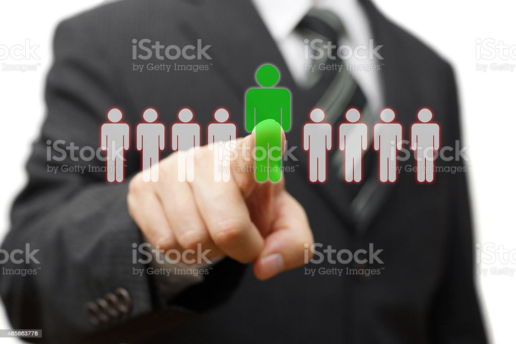 businessman choosing right partner from many candidates stock photo