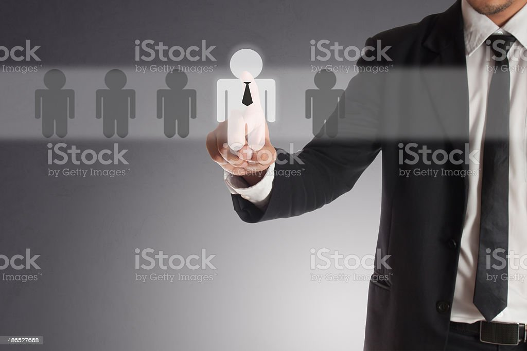 businessman choosing right partner from many candidates, stock photo
