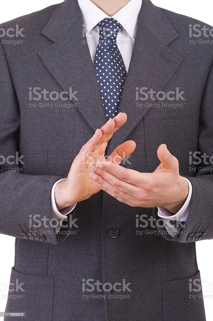 Businessman clapping his hands. royalty-free stock photo