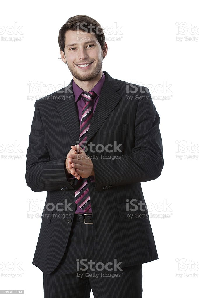 Businessman clapping stock photo