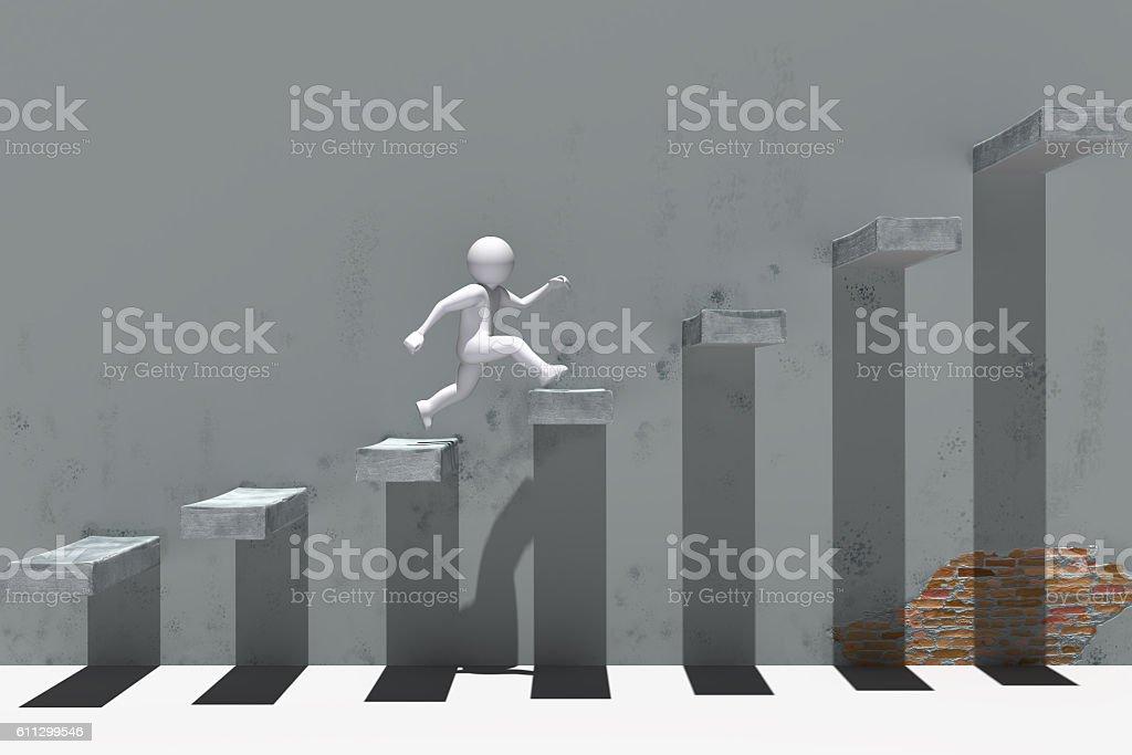 businessman climbing a graph column . 3D rendering. stock photo