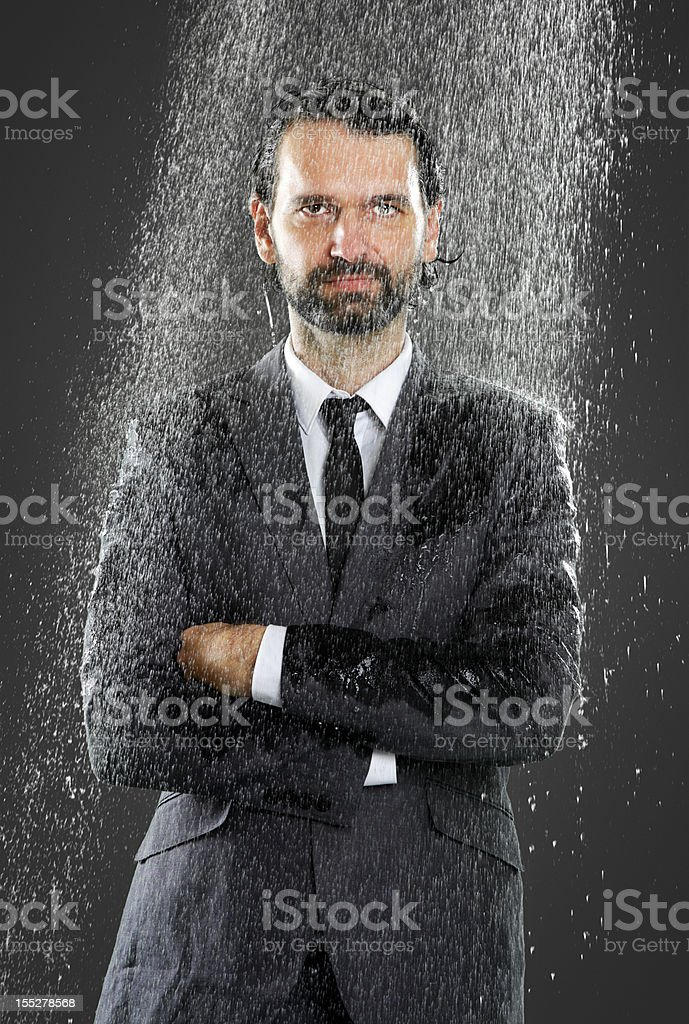 Businessman - Cold Shower stock photo