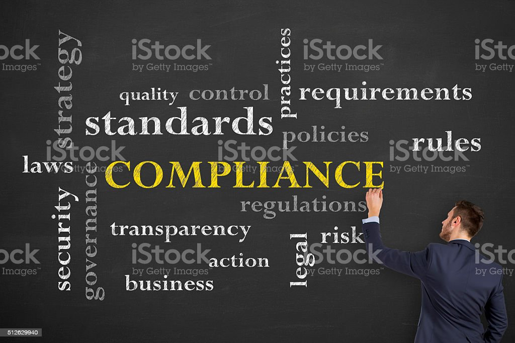 Businessman Compliance Drawing on Chalkboard stock photo