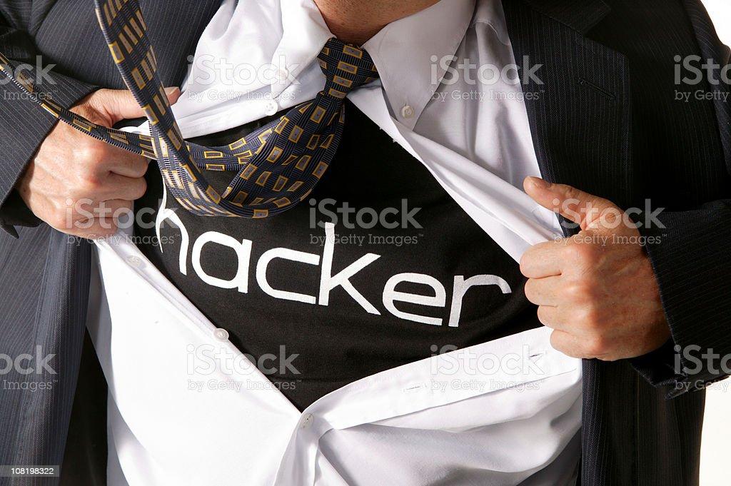 businessman computer hacker opening his shirt royalty-free stock photo