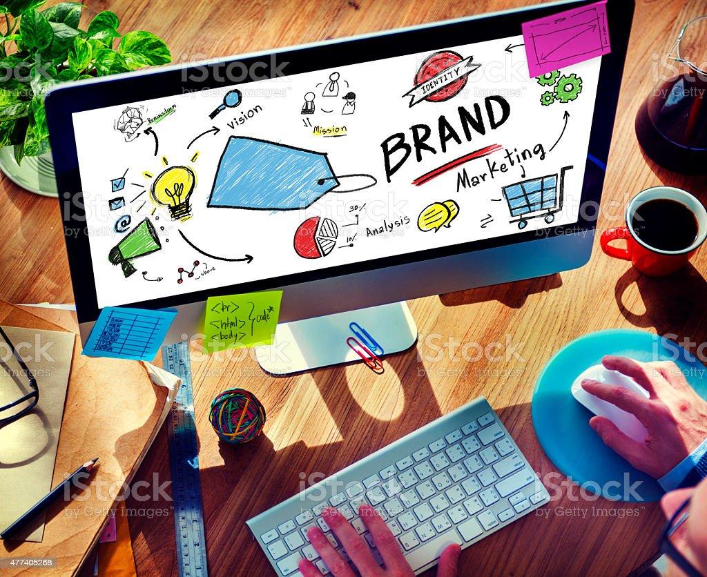 Businessman Computer Planning Marketing Brand Concept stock photo