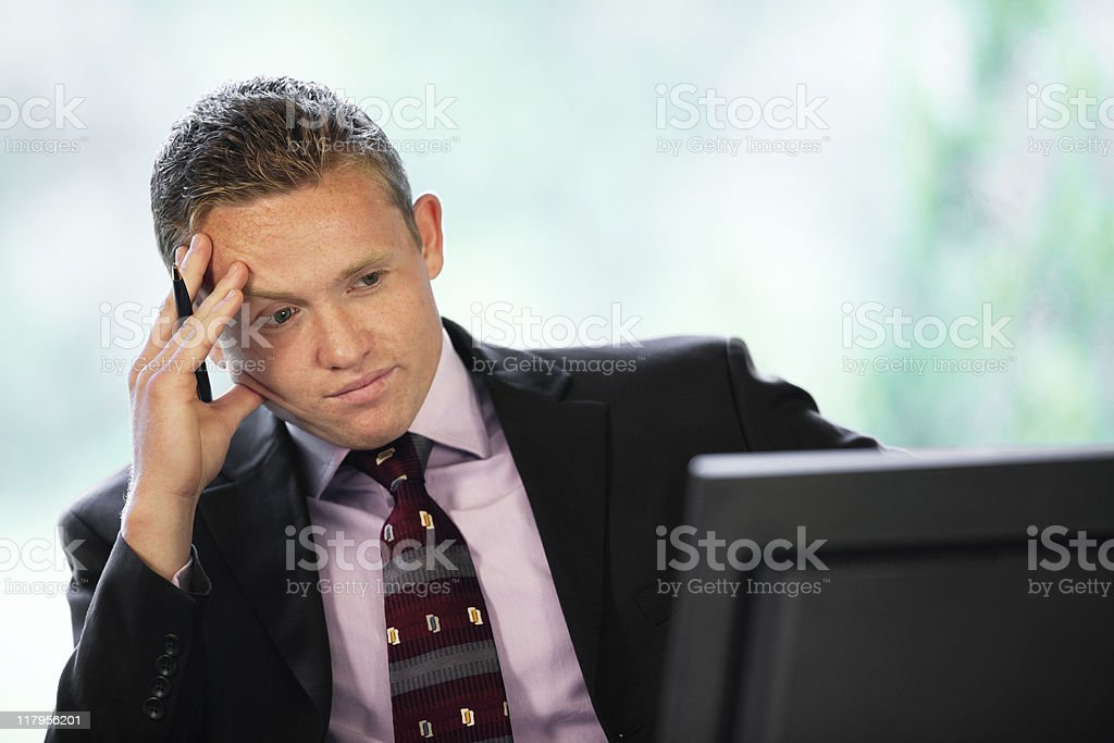 Businessman Concentrating On Computer royalty-free stock photo