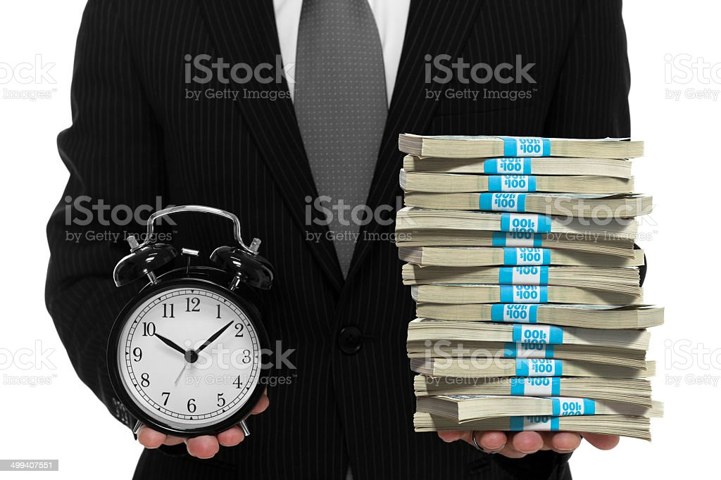 Businessman concept of time is money stock photo
