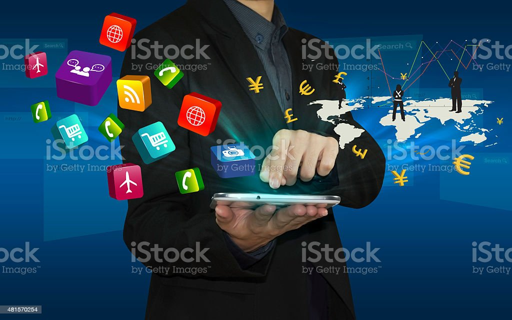 Businessman connect by smart phone. stock photo