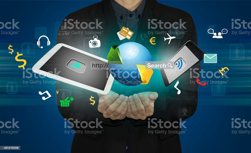 businessman connect social media by smart phone. stock photo
