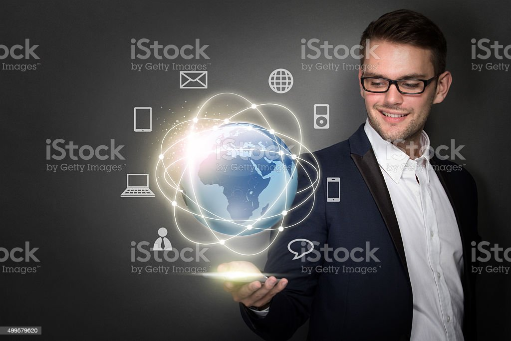 businessman connected through stock photo