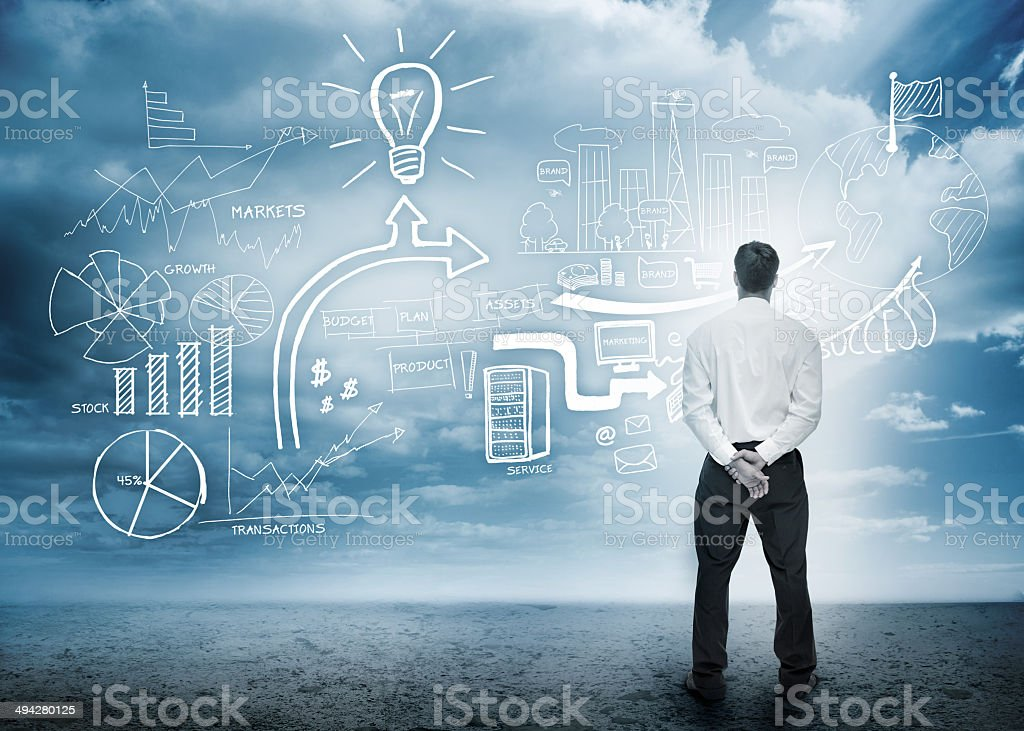 Businessman considering a brainstorm stock photo
