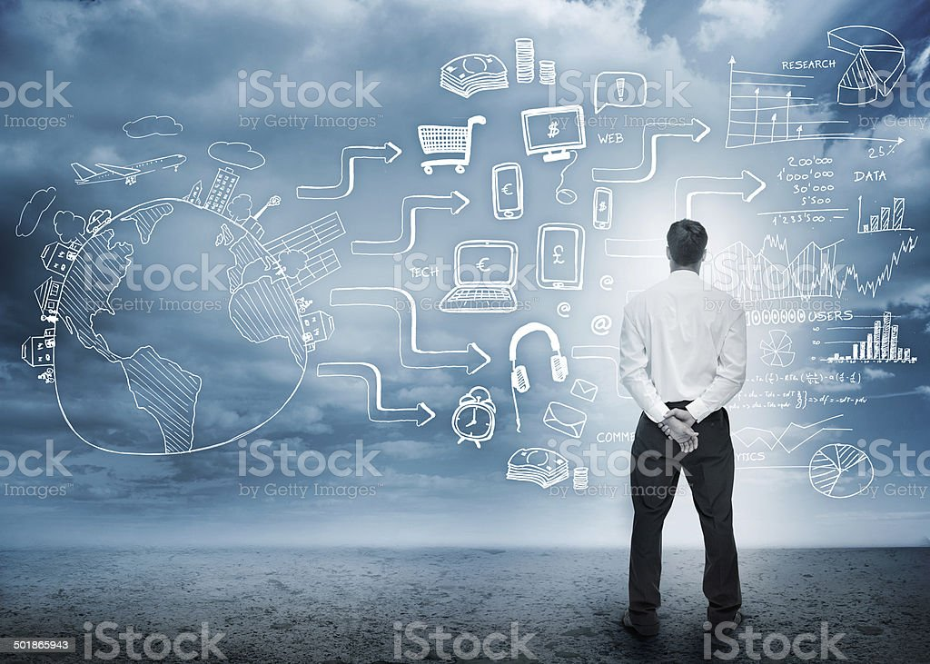 Businessman considering a complicated brainstorm for profit stock photo