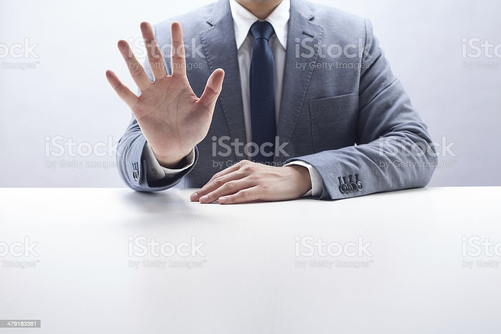Businessman Counting Five stock photo