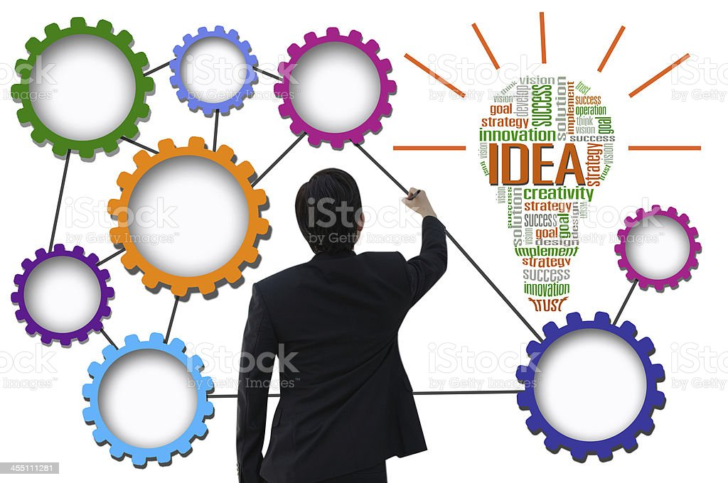 Businessman create idea system for business concept stock photo