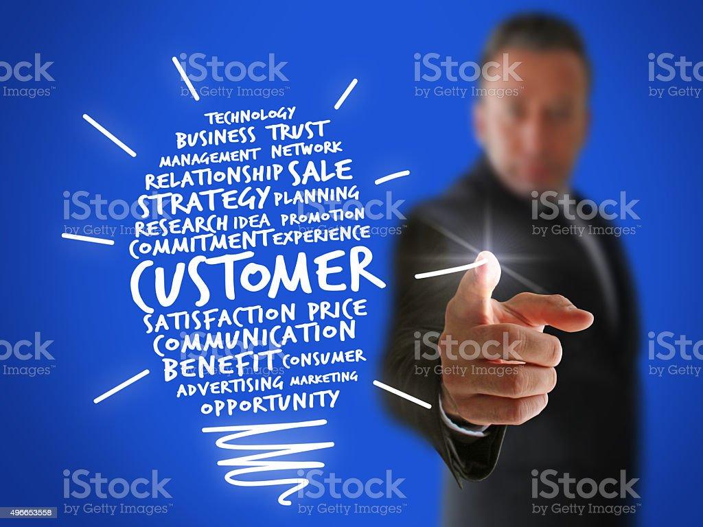 Businessman creating a New Customer Idea stock photo