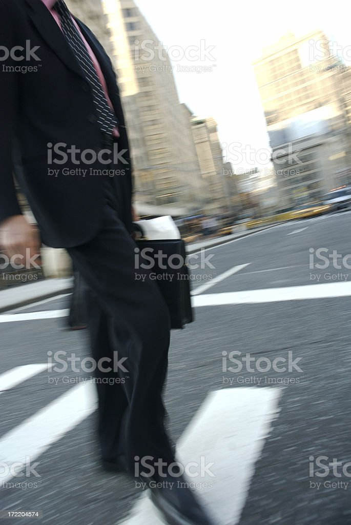 Businessman Crosses Street w Briefcase royalty-free stock photo