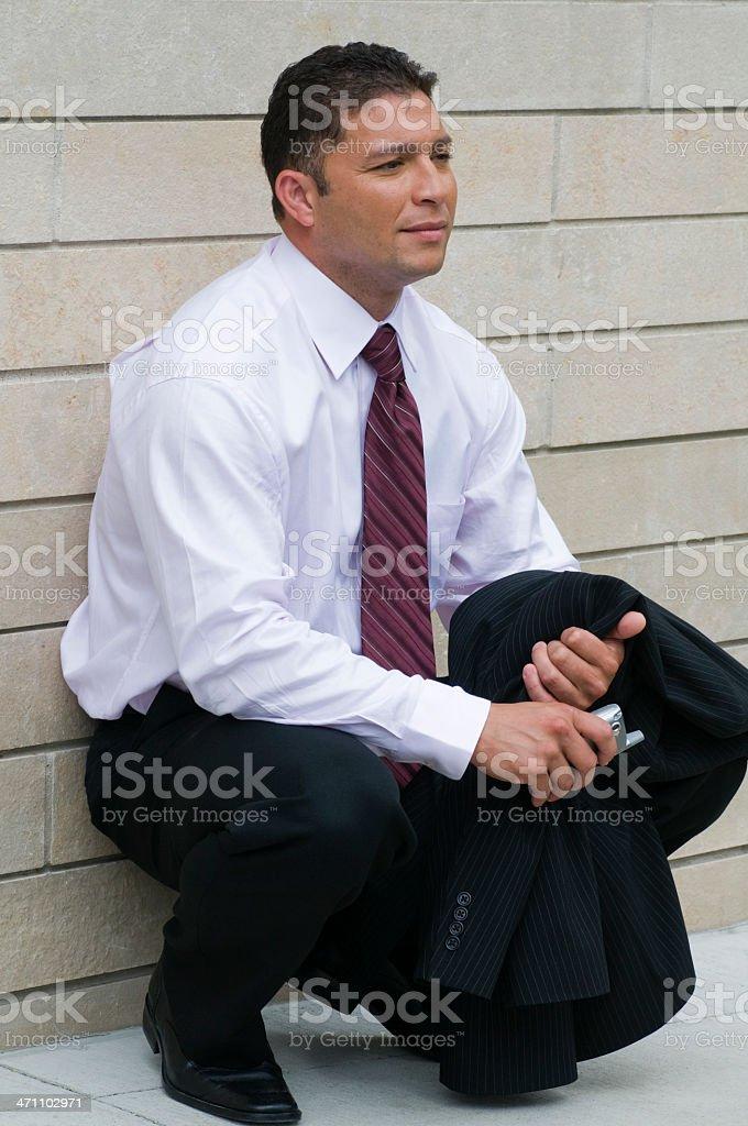 Businessman Crouching stock photo