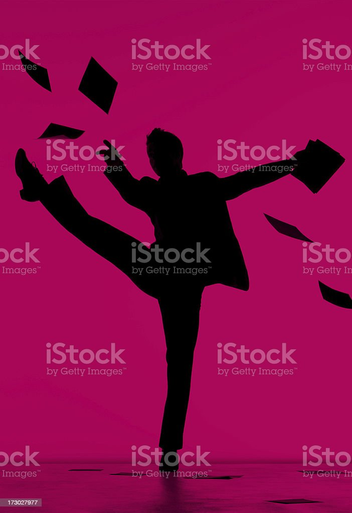 Businessman Dancing And Celebrating On A Pink Background stock photo