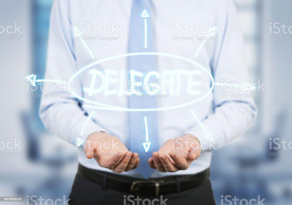 Businessman delegating stock photo