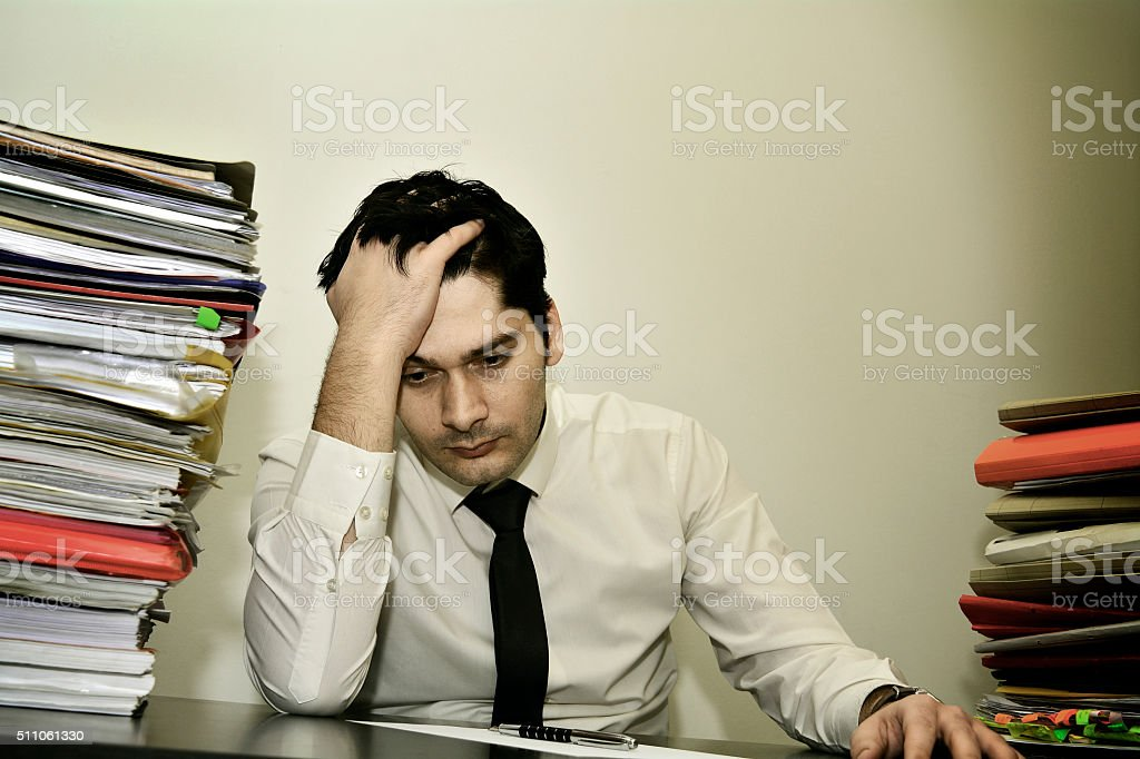 Businessman depressed stock photo