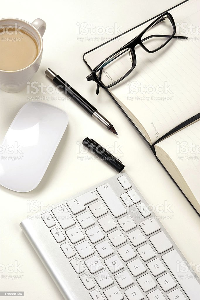 Businessman desk and coffee royalty-free stock photo