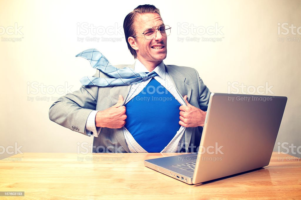 Businessman Desk Superhero Office Worker Winking at the Camera royalty-free stock photo