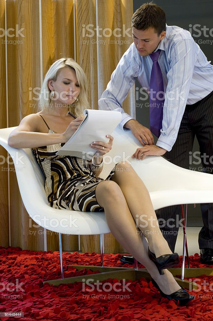 businessman dictating letter to secretary royalty-free stock photo