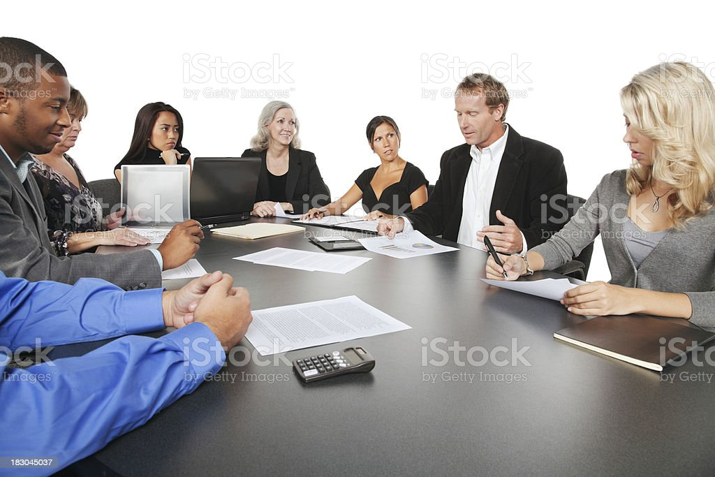 Businessman Discussing Company Financials With His Business Team royalty-free stock photo