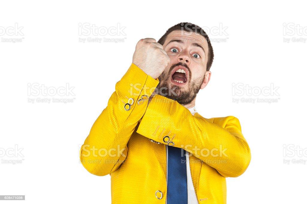 businessman does gesture kozakiewicza stock photo