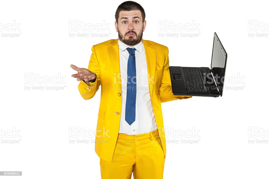 businessman does not know how to operate a wireless computer stock photo