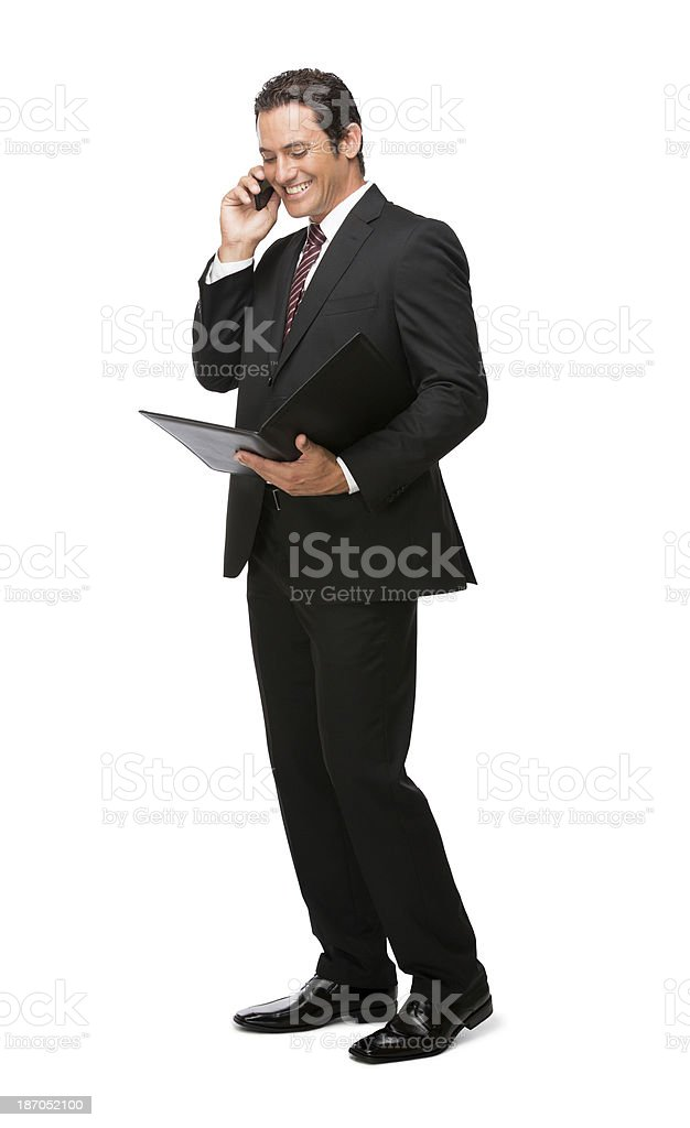 Businessman doing business on the phone royalty-free stock photo