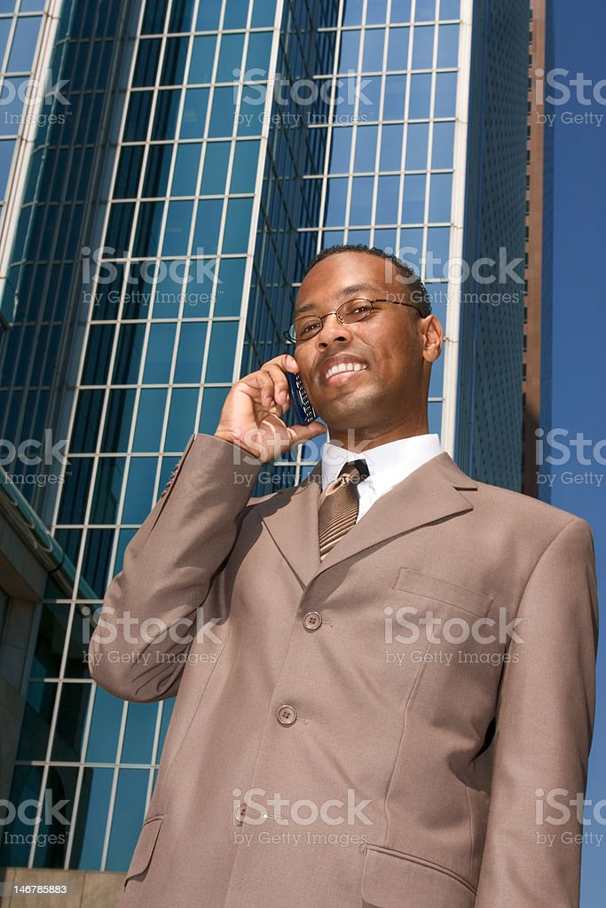 Businessman doing business outside the office royalty-free stock photo