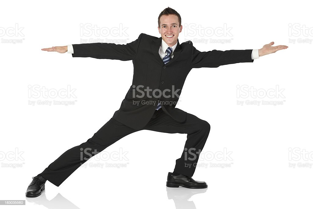 Businessman doing stretching exercise royalty-free stock photo
