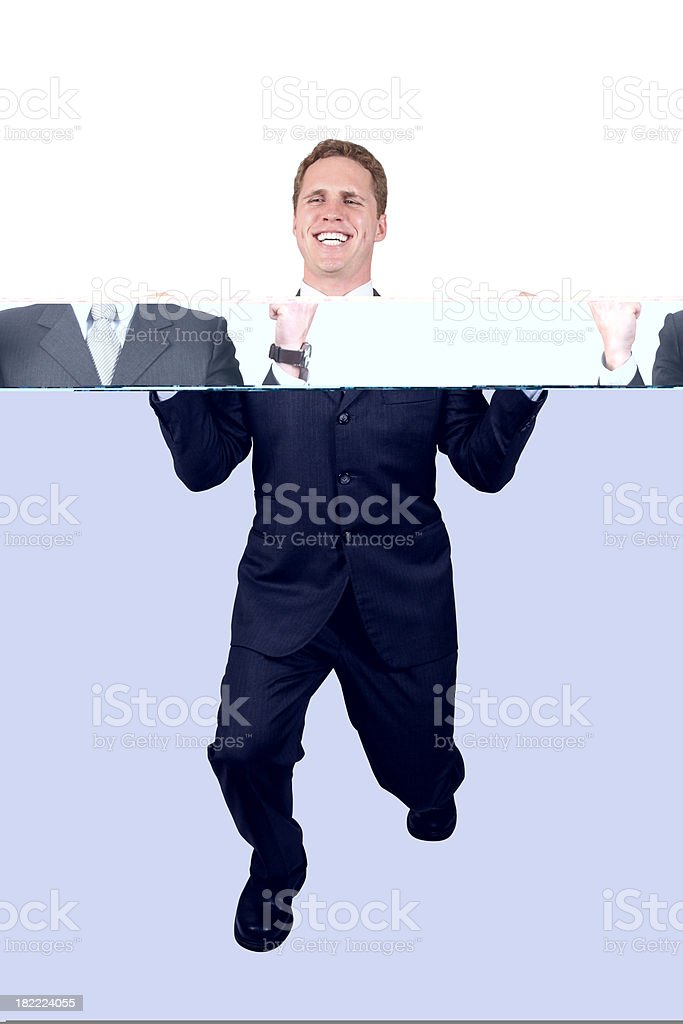 Businessman double fist pump stock photo