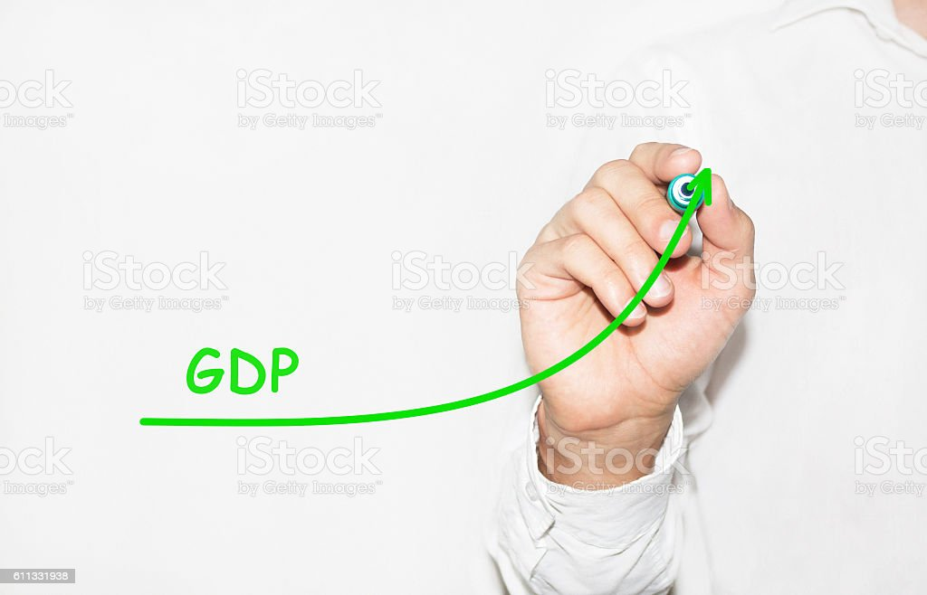 Businessman draw growing graph symbolize growing GDP Gross Domes stock photo