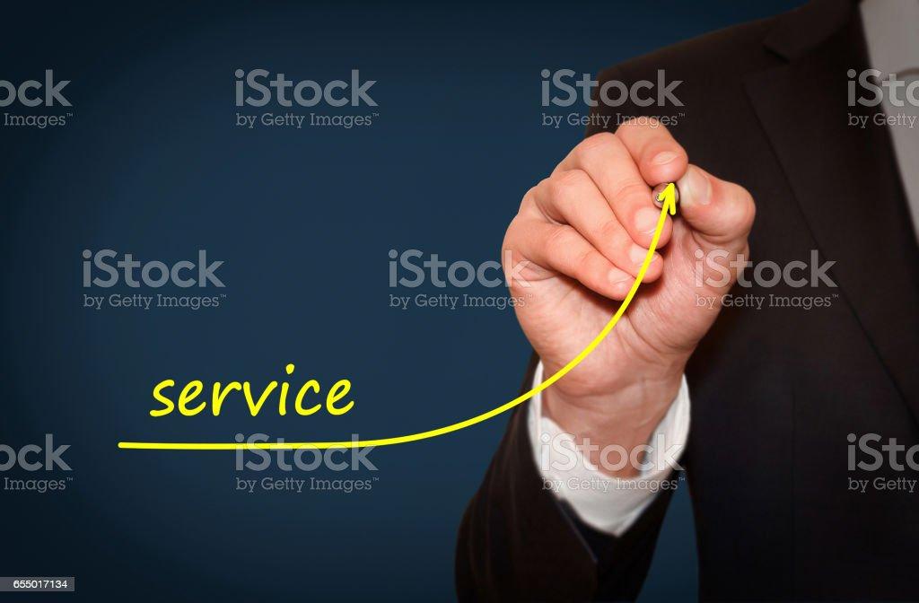 Businessman draw growing line symbolize growing Service level stock photo