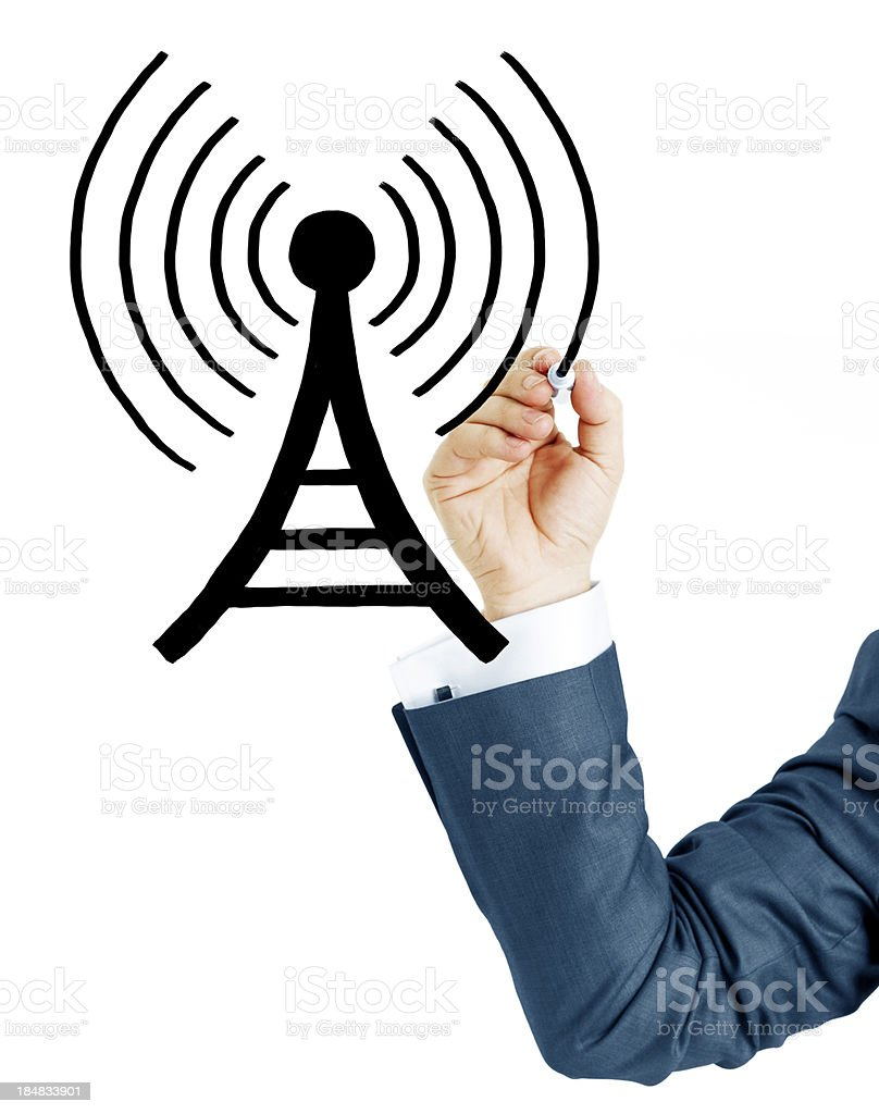 Businessman Drawin antenna royalty-free stock photo