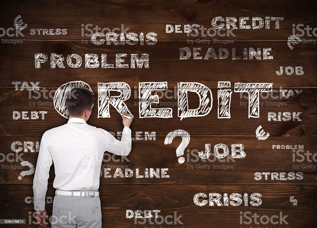 businessman drawin credit symbol stock photo